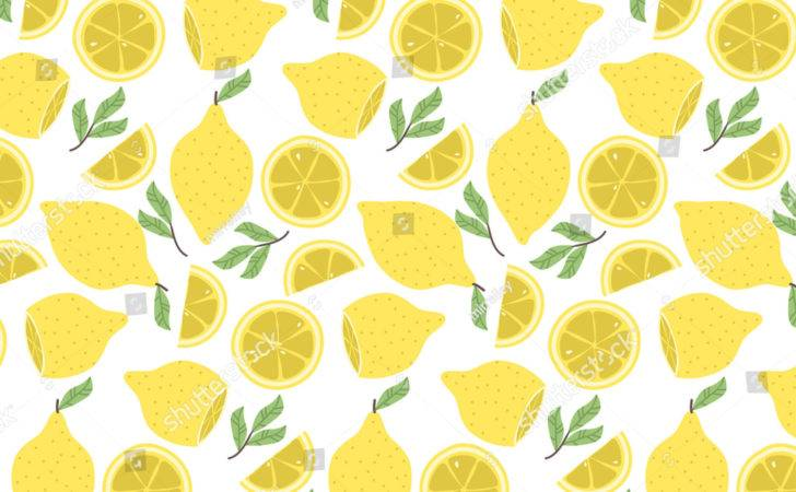 Cute Pattern Cartoon Lemon Slices Vector