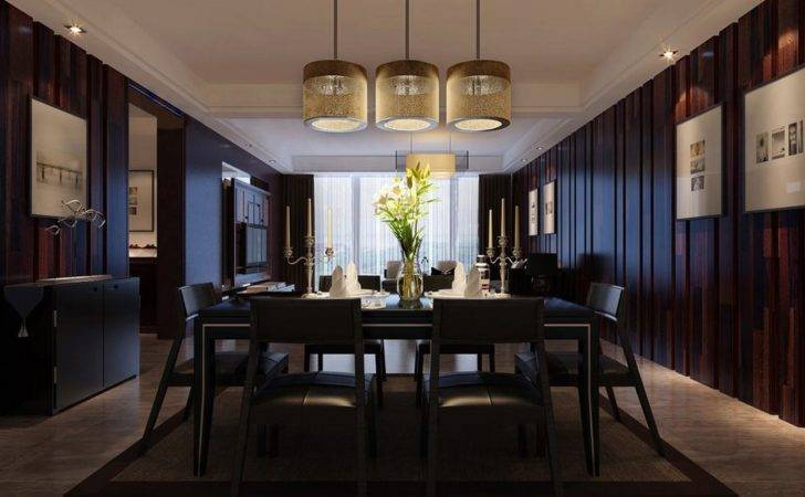 Dark Brown Wall Design Dining Room House