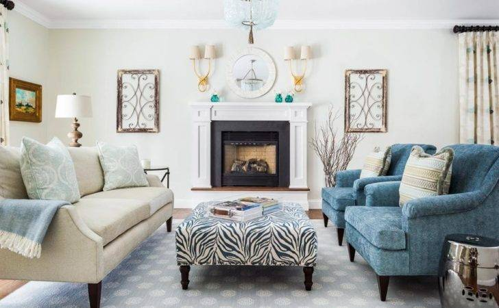 Dark Living Room Refreshed Cream Teal
