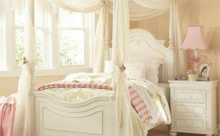 Decorating Ideas Canopy Beds Girls White Bright