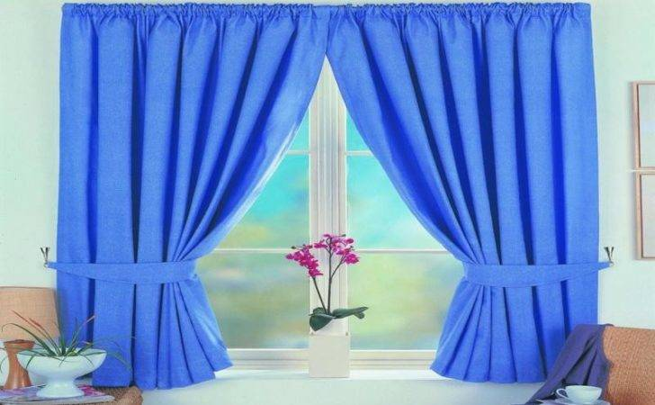 Decoration Blue Ready Made Blackout Curtains Simple