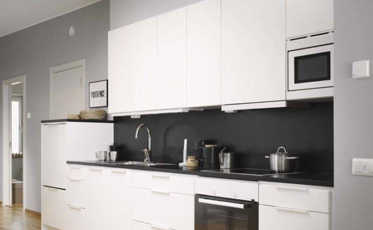 Decordots Modern White Kitchen Black Wall