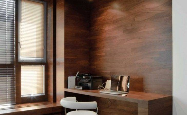 Design Ideas Home Office Wooden Clad Walls Desk