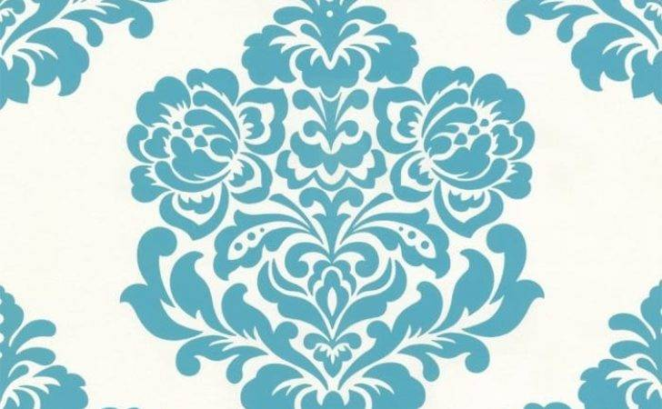 Designer Selection Bold Damask Teal Cream