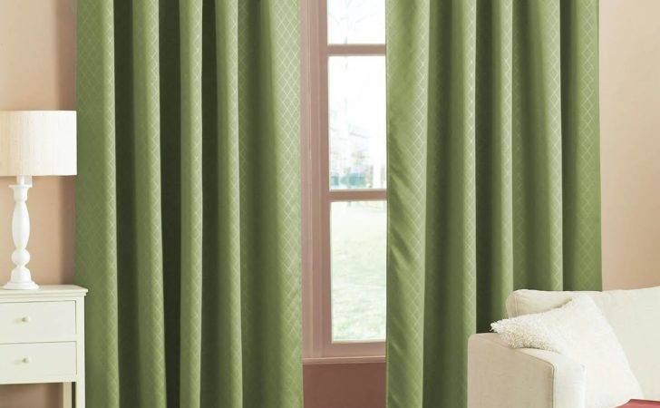 Diamond Woven Blackout Curtains Green Delivery
