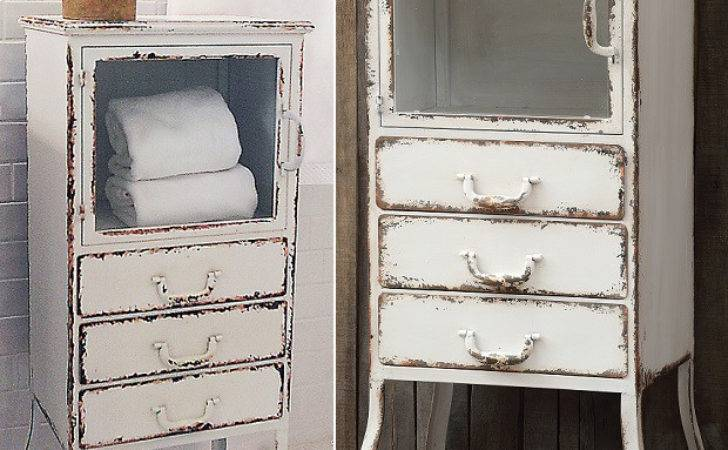 Distressed Metal Cabinet Drawers Antique Farmhouse