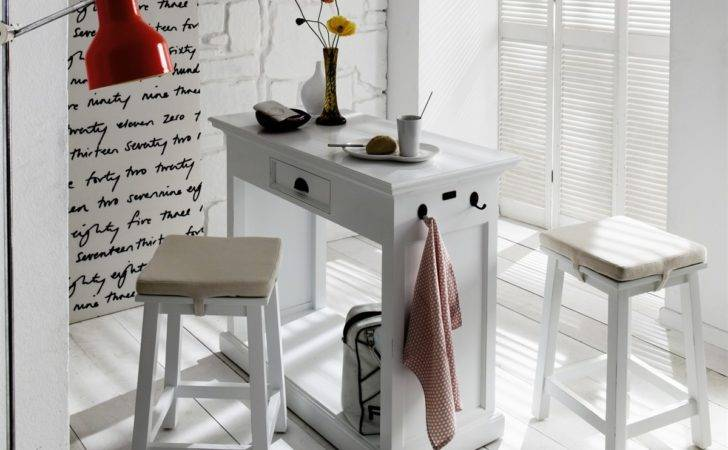Distressed White Solid Wood Standing Breakfast Bar