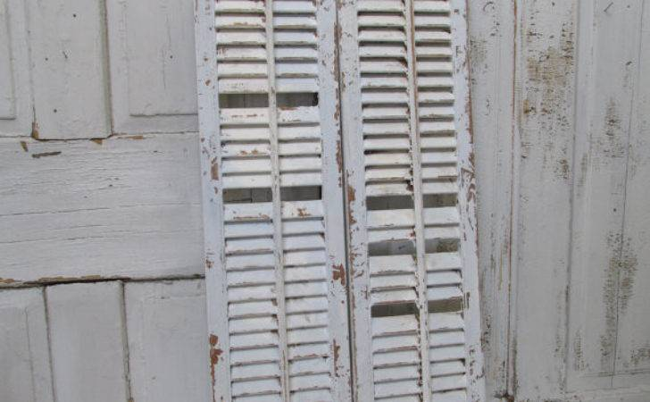 Distressed Wooden Shutters Shabby Chic Barely