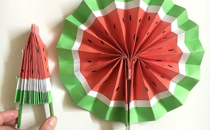 Diy Paper Fan Melon Fans Red Ted Art Blog
