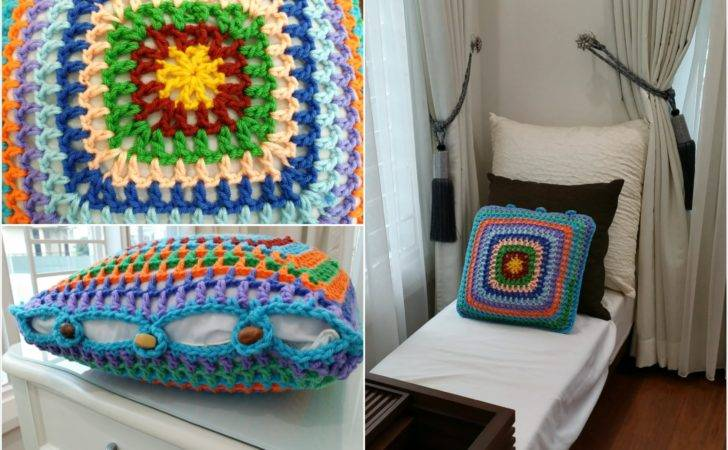 Diy Room Decoration Crochet Granny Square Cushion Cover