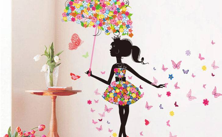 Diy Wall Stickers Pvc Large Sticker Pink Girl