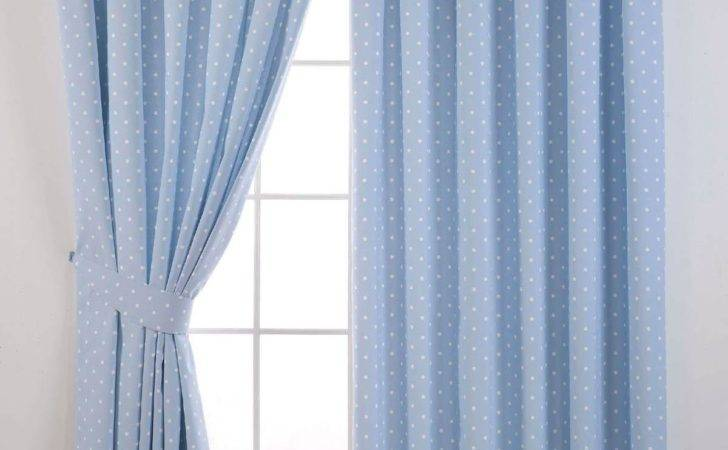 Dotty Blackout Curtains Powder Blue Delivery