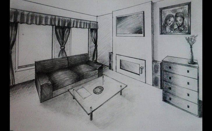 Draw Living Room Fireplace Two Point