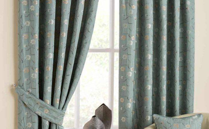 Duck Egg Blue Isla Ready Made Jacquard Curtain Pair