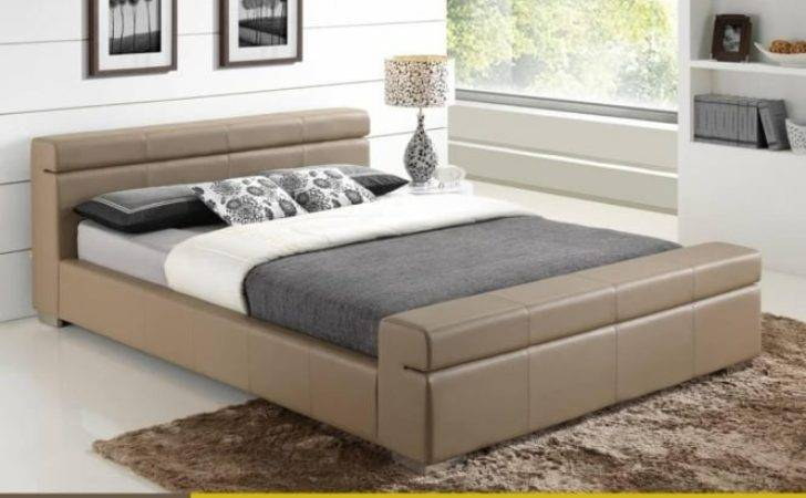 Durham Faux Leather Stone Double Bed Cheapest