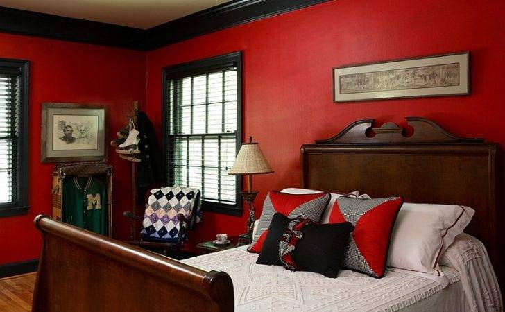 Eclectic Boys Bedroom Seems Drenched Red Black