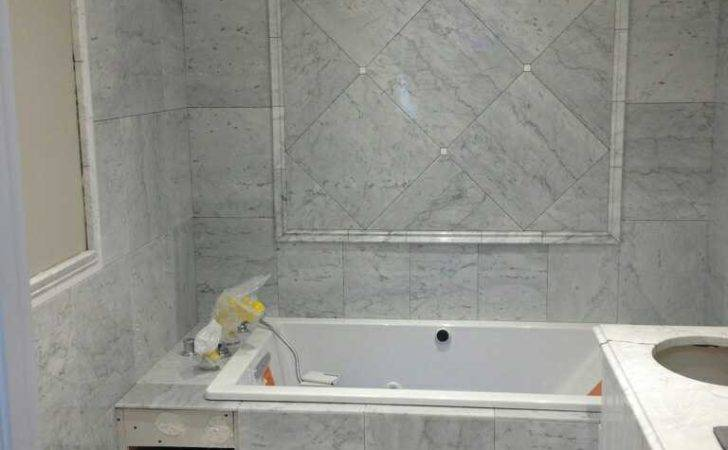 Edmonton Tile Install White Marble Bathroom River City