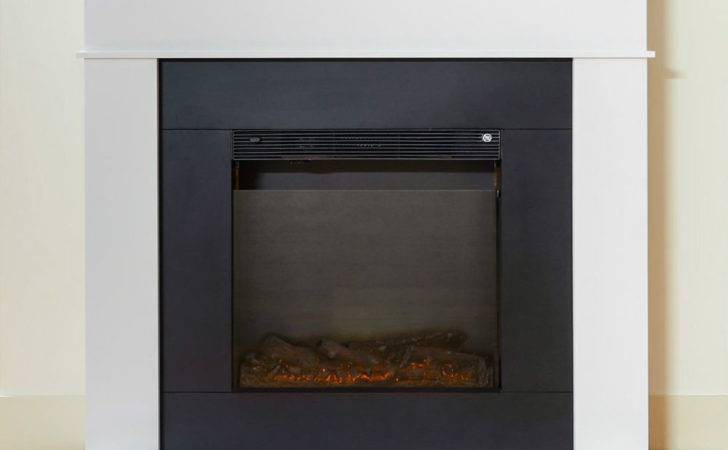 Electric White Surround Modern Black Glass Log Inset Fire