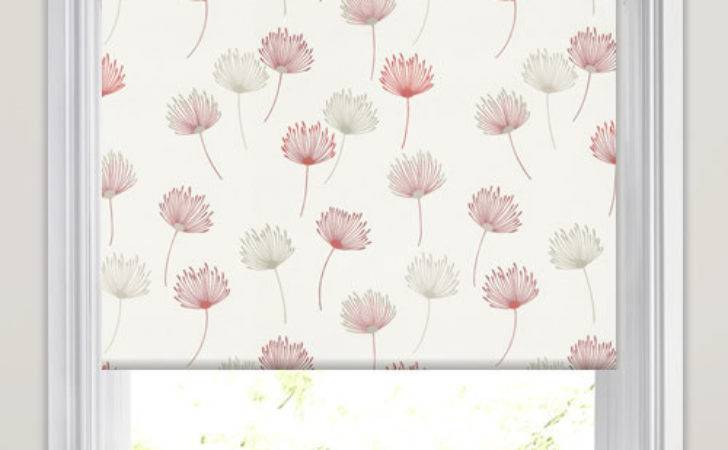 Elegant Dandelion Patterned Roller Blinds White Taupe
