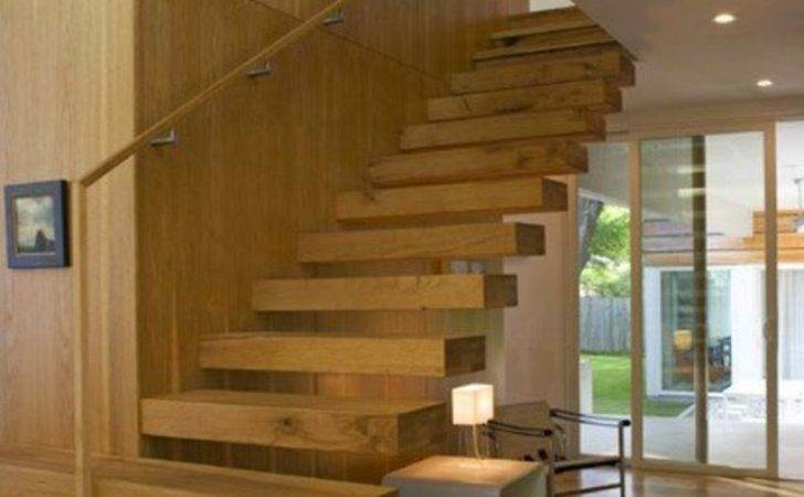 Elegant Floating Stairs Designs Wall Decoration Space