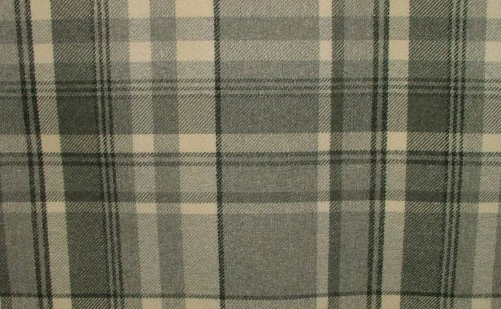 Elgin Dove Grey Wool Effect Washable Thick Tartan Curtain