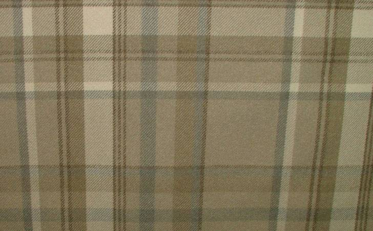 Elgin Taupe Wool Effect Washable Thick Tartan Curtain Fabric