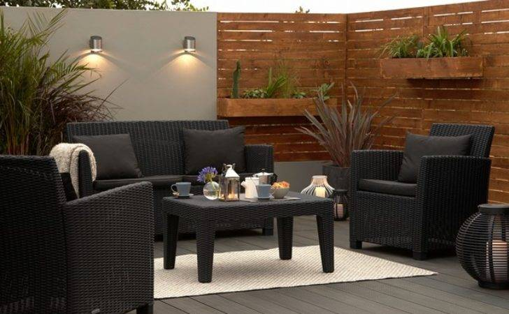 Elsa Rattan Effect Seater Coffee Set Contemporary
