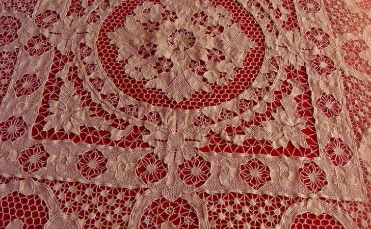 Embroidered Blanquet Table Cloth Antique Venetian