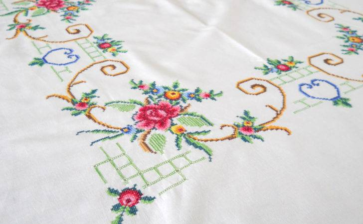 Embroidered Vintage Tablecloth White Floral