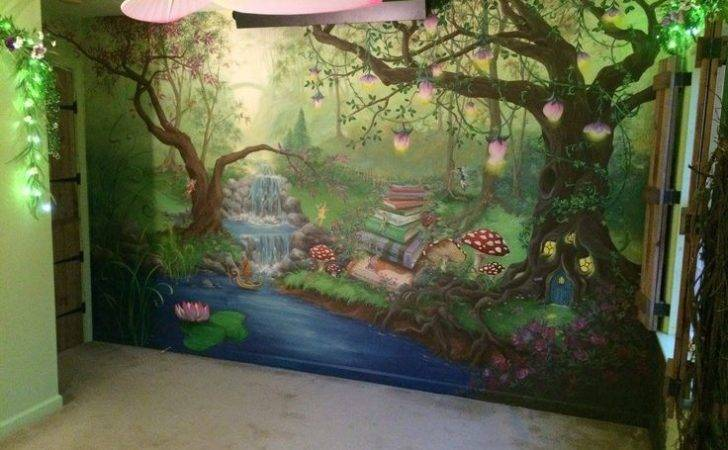 Enchanted Forest Bedroom Mural During Day