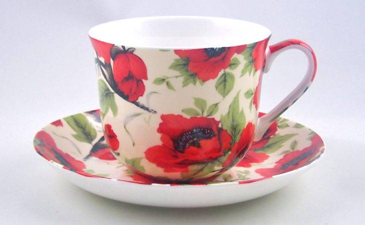 English Bone China Breakfast Cup Saucer Red Poppy