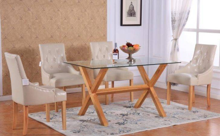 Extendable Rectangular Tempered Glass Top Dining Table