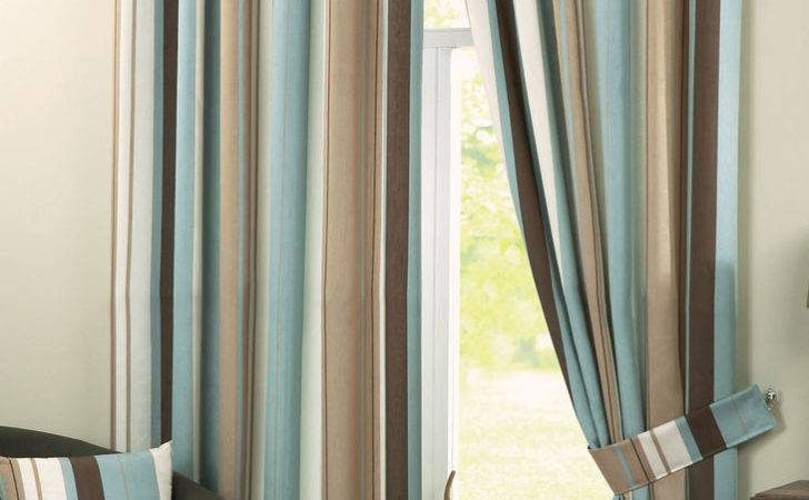 Eyelet Lined Curtains Whitworth Stripe Duck Egg Ebay