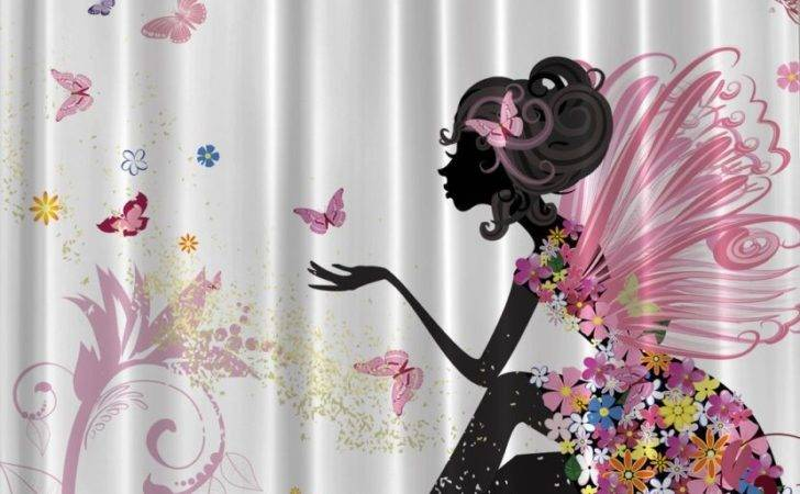 Fairy Flowers Shower Curtain Pink Floral Girl Butterfly