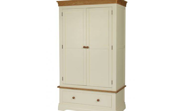 Farmhouse Country Oak Cream Painted Double Wardrobe