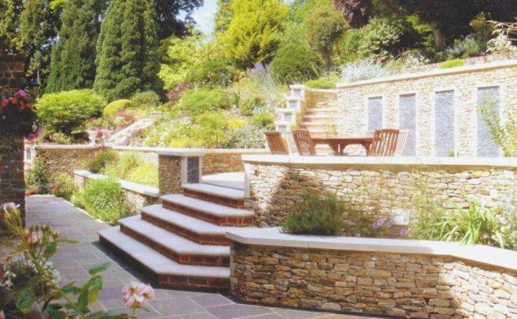 Fascinating Small Terraced Garden Ideas Exposed Stone