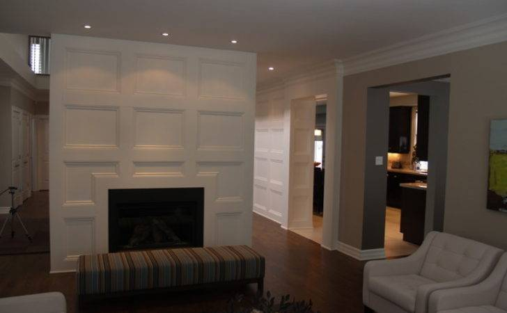 Feature Wall Coffered Ceiling Traditional Living Room