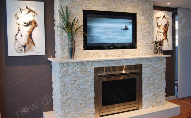Feature Wall Fire Place Using Stone Cladding