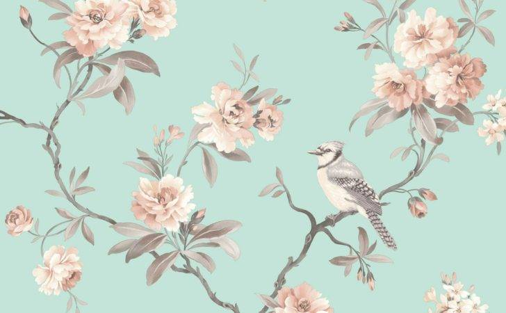 Fine Decor Chic Floral Chinoiserie Bird Grey