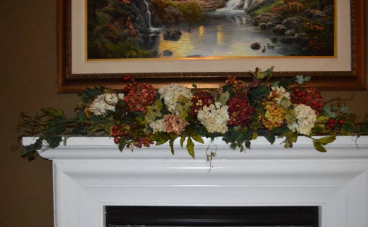 Fireplace Flowers Hydrangea Garland Mantle
