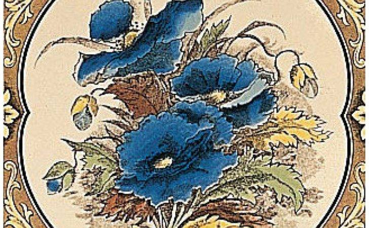 Fireplace Tiles Stovax Blue Poppies Reproduction