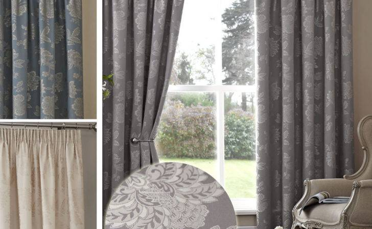 Floral Jacquard Thermal Curtains Pair Ready Made