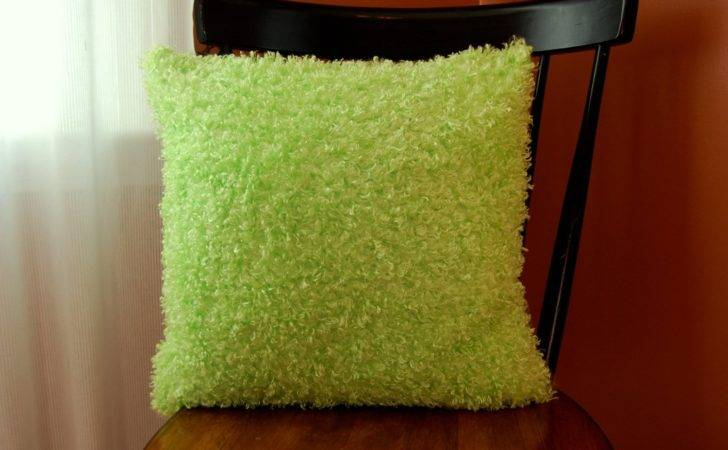 Fluffy Funky Green Pillow Decorative Super Soft Fuzzy