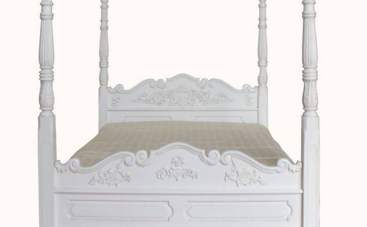 Four Poster Bed Mahogany Antique White