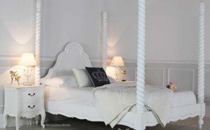 French Chateau White Painted King Four Poster Bed