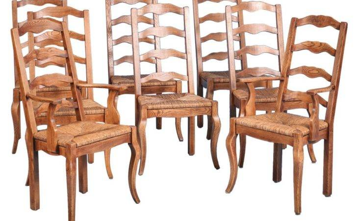 French Country Elm Wood Rush Seat Dining Chairs Set