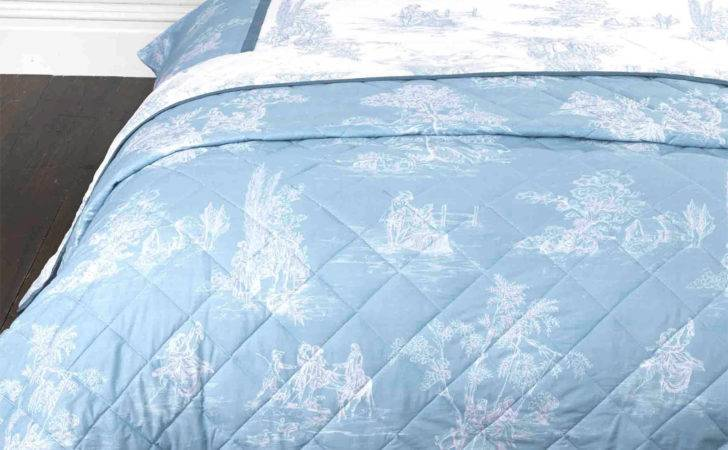 French Country Inspired Toile Jouy Bedspread