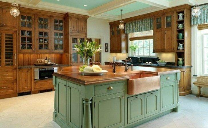 French Country Kitchen Decorating Painted Island