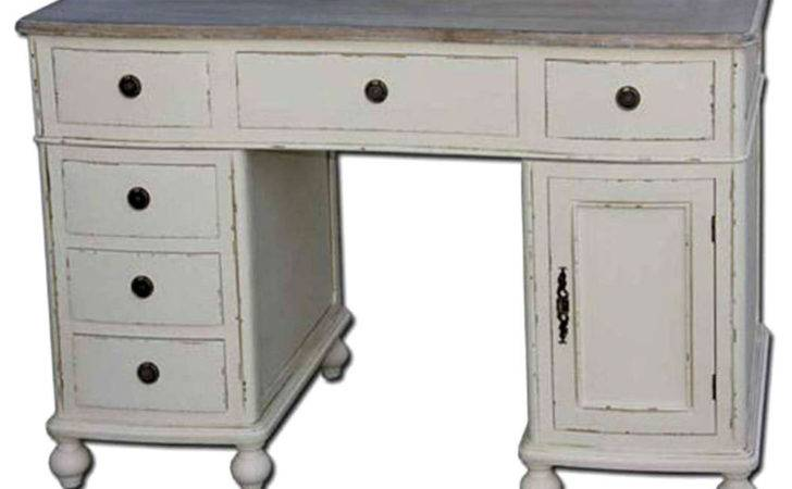 French Country Twin Pedestal Desk Office Table Shabby Chic