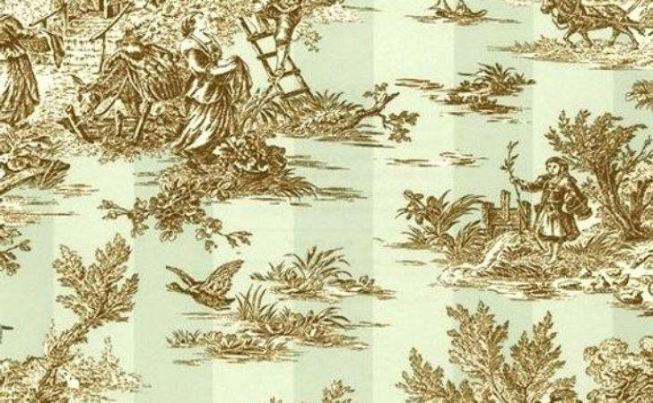 French Countryside Pastoral Toile Jouy Stripe